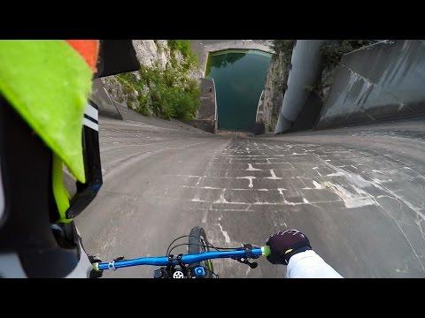 Cycling down a dam